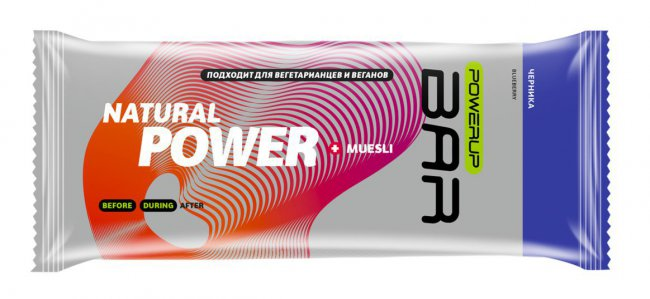 Батончик Powerup Bar Muesli 50 g Черника PUP-M-B